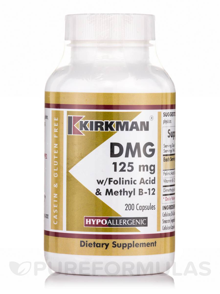 DMG 125 mg with Folinic Acid & Methyl B-12 -Hypoallergenic - 200 Capsules
